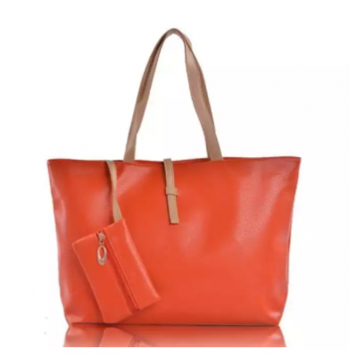 Red Faux Leather Handbag For Women