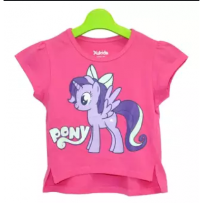 Pink Pony Printed Top For Girls