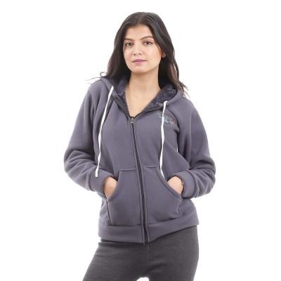 Dark Grey Solid Inner Fleece Hoodie For Women