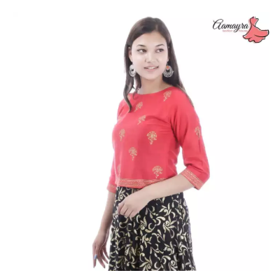 Red Printed Banarasi Choli For Women