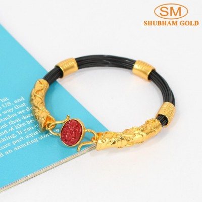 Red Ganesh Stoned Bracelet For Men