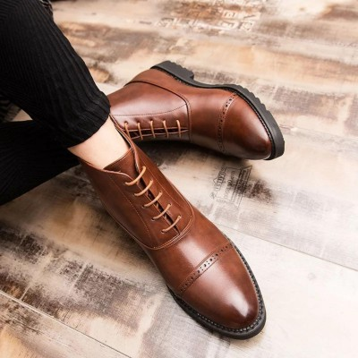 Remember Brown Brogue Derby Casual Leather Half Boots For Men(YK-412)
