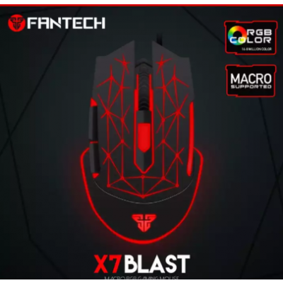 Fantech X7 BLAST Macro RGB 4800DPI Optical 6D USB Wired Pro Gaming Mouse - Black