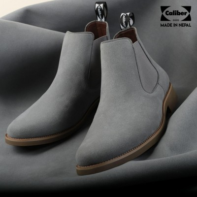 Caliber Shoes Suede Grey Slip On Lifestyle Boots For Men - ( CS 481 SR )