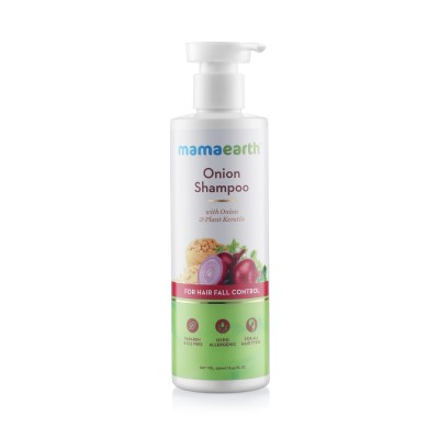 mamaearth Onion Shampoo for Hair Growth & Hair Fall Control with Onion Oil & Plant Keratin, 250 ml