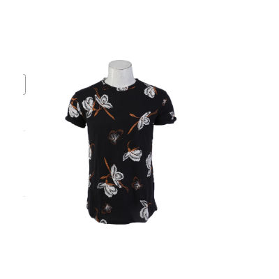 Flower Printed Curve Shape T-shirt