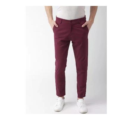 Maroon Stretchable Cotton Chinos For Men