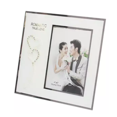 White Hearts Printed Photo Frame