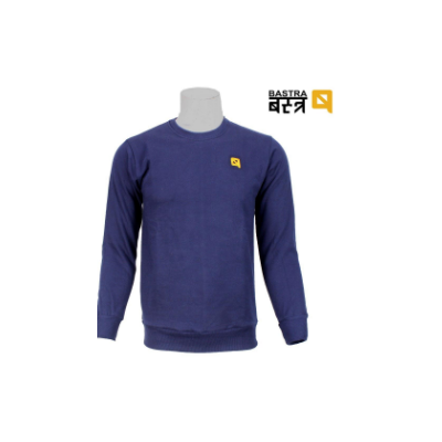 Navy Solid Cotton Fleece Sweatshirt For Men