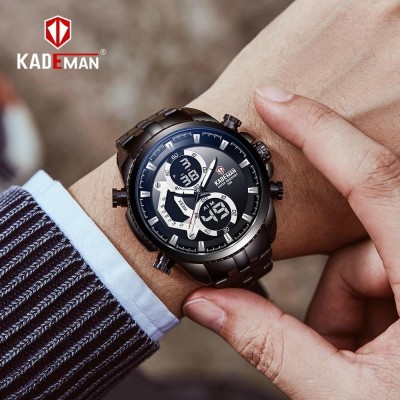 Kademan Dual Time Digital Analog Luxury Steel Watch for Men- Black