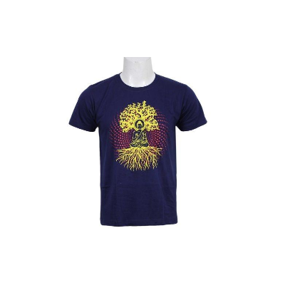 Navy Blue Meditating Buddha Printed T-Shirt For Men