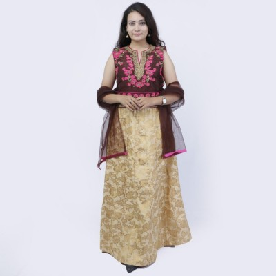 Brown/Pink/Golden Floral Printed Lehenga Choli Set For Women