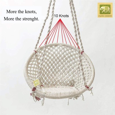 Curio Centre Round Cotton Home Swing & Hammock Chair (135 Cm X 57 Cm X 43 Cm, White)