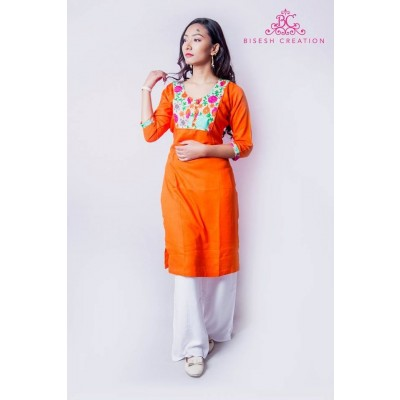 Orange/White Rayon Floral Embroidered Kurti For Women