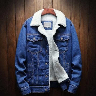 Blue Solid Fur Denim Jacket For Men By Wraon