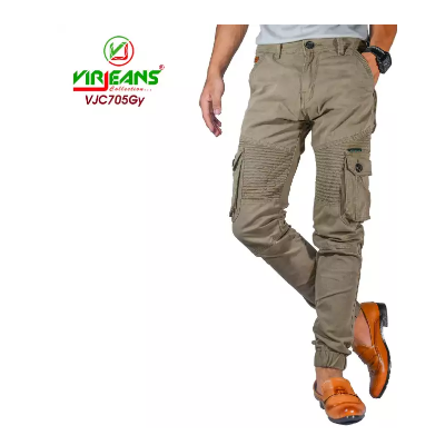 Virjeans Cotton Twill Stretchable (Cargo) Box Joggers Pant  Grey