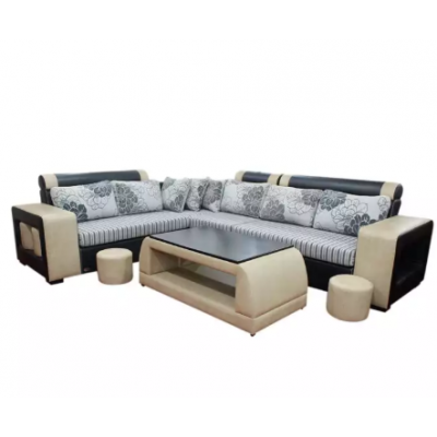 Sunrise Furniture Shape Wooden Sectional Sofa With Tea Table - Black/OffWhite