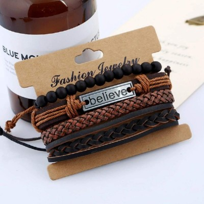 University Trendz Natural Stone Beads Inspirational Believe Words Metal Genuine Leather Bracelet for Men Casual Wear(Set of 4