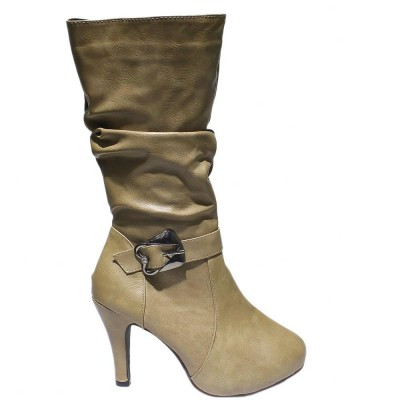 Ruched Design Heeled Boots For Women