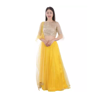 Yellow Net Embroidered Lehenga Choli Shawl Set For Women