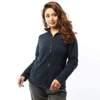 Navy Blue Front Zippered Polar Fleece Jacket For Women