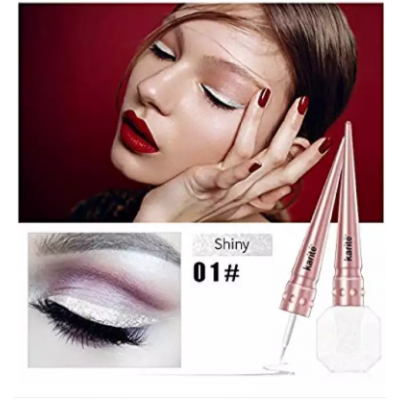 Karite White Glitter Liquid Eyeliner Waterproof Shimmer Pigment Eyeliner Long Lasting Eye Makeup Shade No. 1 Shiny Color
