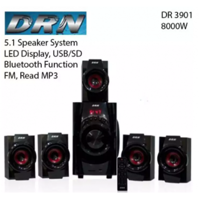 DRN Dr 3901 5.1 Speaker led Display, Usb/sd, Fm, Bluetooth, Mp3, Woofer