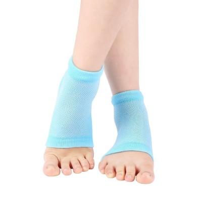 Purastep Unisex Silicone Gel Heel Socks with Spa Botanical GelPad (Free Size, Blue, 1 Pair)
