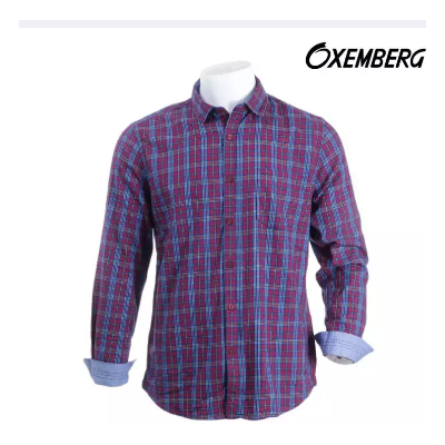 Oxemberg Red Checkered Printed Shirt For Men