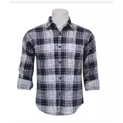Dark Blue/White Patterened Casual Shirt For Men
