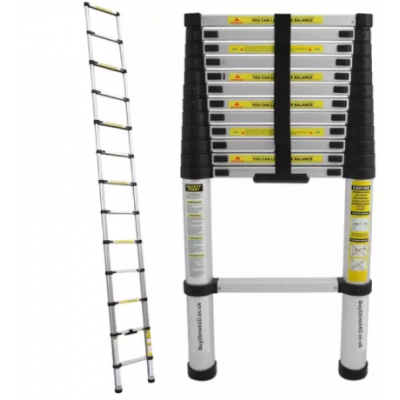 3.8M Loft Multi-Purpose Aluminium Telescopic Ladder Extension Extendable Steps +
