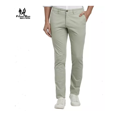 Cream Stretchable Cotton Chinos For Men