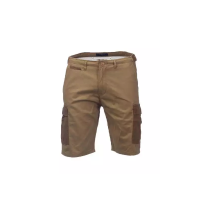 KILOMETER Casual Khaki with light brown Pockets Half Cotton (Twill) Cargo (Box) Pant