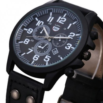 Men's wristwatch Military Leather Waterproof Date Quartz Analog Army Men's Quartz Wrist Watches