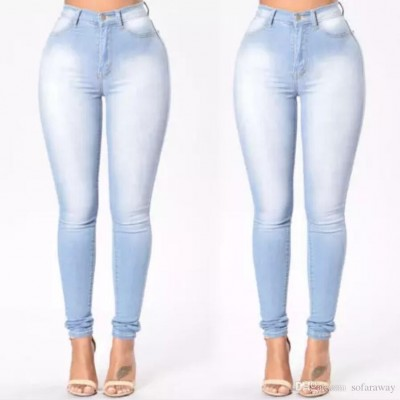 Light Blue High Waist Slim Fit Jeans Pant For Women