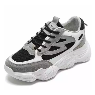 Double Sole Black And Grey Sport Shoe For Women (8912)