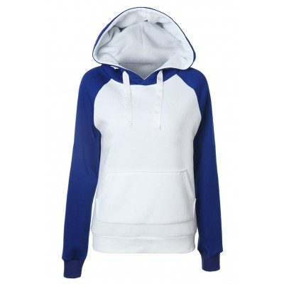 Blue/Grey Long Sleeve Hoodie For Women