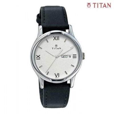 Titan White Dial Analog Watch For Men- Black