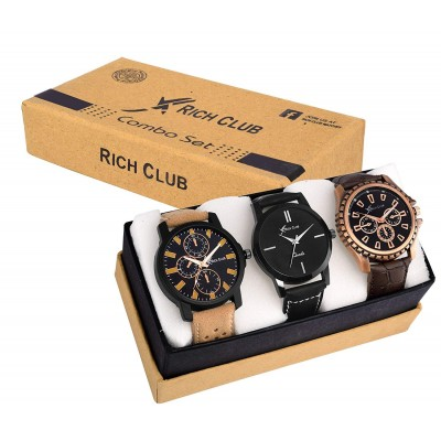 Rich Club Combo Of 3 Analogue Black Dial Men's And Boy's Watch