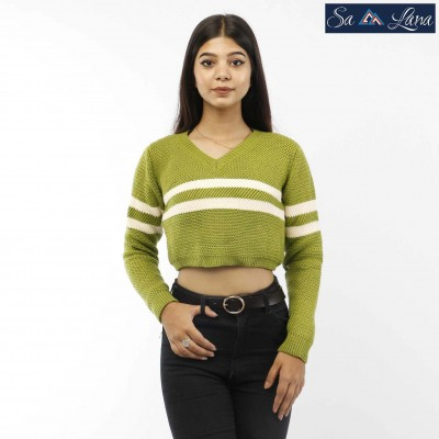 V-Neck Stripped Crop Sweater for Women