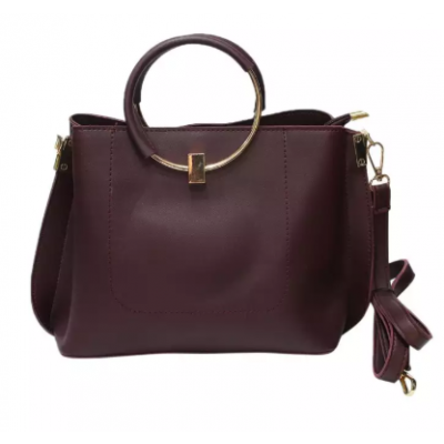 Solid PU Leather Handbag For Women