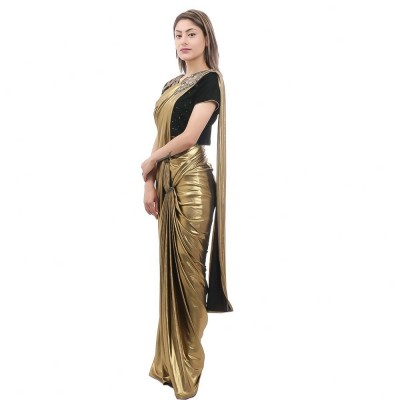 Golden/Green Readymade Saree & Blouse Set For Women