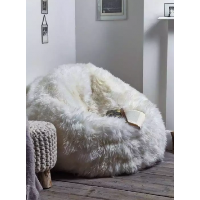 Bean Bag Luxury Chairs XXXL Size Fluffy Faux Fur White Puff Bean Bag