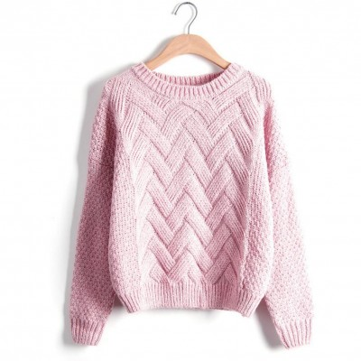 Emme Autumn Winter Women Sweaters And Pullovers Korean Plaid Thick Knit Casual Loose O-Neck Sweater