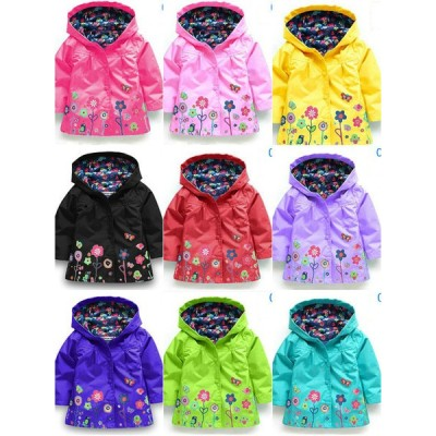 Baby Girls Spring Autumn Cartoon Print Windcheater Outwear jacket Fashion Set