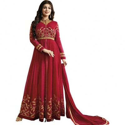 Semi Stitched Red Georgette Gown