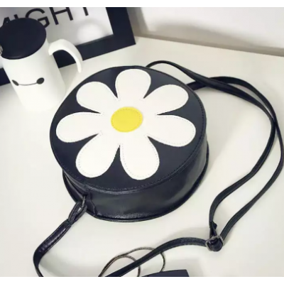 Flower Round Cross Body Vintage Style PU Leather Bag For Women