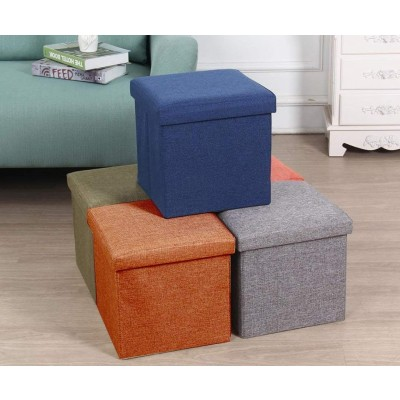 Almand Living Foldable Storage Bins Box Ottoman Bench Container Organizer with Cushion Seat Lid, Cube,Multi Colour(30X30X30 cm)