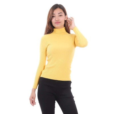 Slim Fit Woolen Highneck Sweater For Women