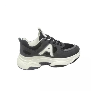 Double Sole Black And Dark Grey Mixed Sport Shoe For Women